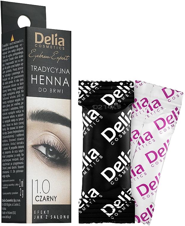 Hennè-tinta in polvere per sopracciglia, nera - Delia Brow Dye Henna Traditional Black