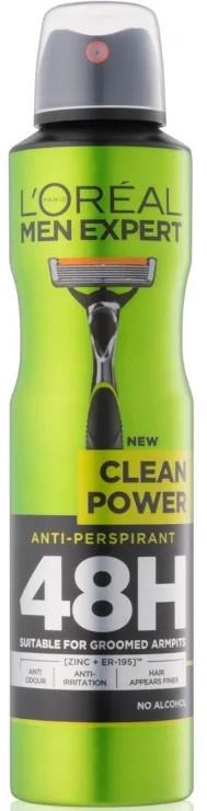 Deodorante-antitraspirante - L'Oreal Paris Men Expert Clean Power Anti-perspirant Deodorant Spray