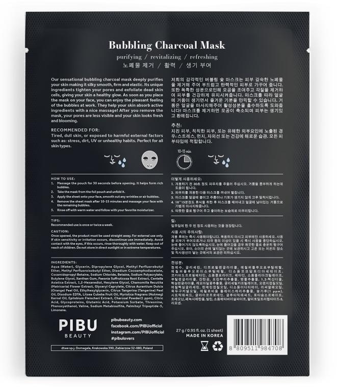 Maschera a bolle con carbone - Pibu Beauty Bubbling Charcoal Mask — foto N2