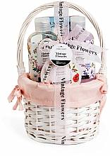 Profumi e cosmetici Set - IDC Institute Vintage Flowers Basket (sh/g/160ml+b/lot/50ml+salt/100g+bomb/160ml)