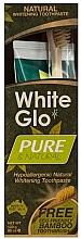 """Profumi e cosmetici Set """"Pulizia naturale"""" con spazzolino di bambù - White Glo Pure & Natural (t/paste/85ml + t/brush/1)"""