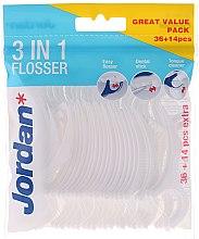 Profumi e cosmetici Filo interdentale 3 in 1, 36 + 14 pz - Jordan 3-in-1 Flosser Dental Stick & Tongue Cleaner