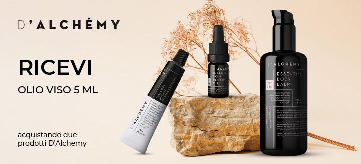 Acquistando due prodotti D'Alchemy, ricevi in regalo un olio viso