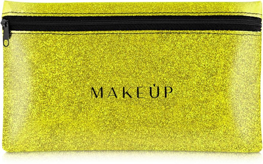 """Beauty case in silicone, """"Glitter Pouch"""", dorato, 22x13cm - MakeUp"""