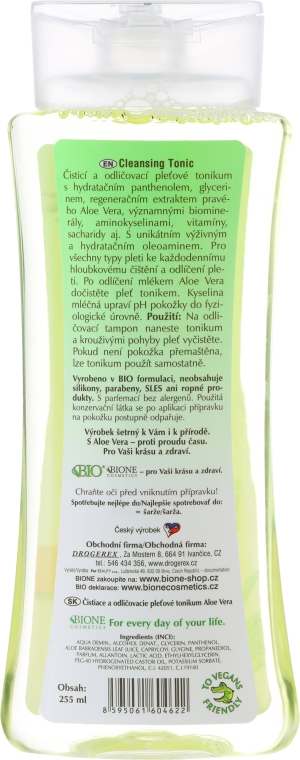 Tonico struccante - Bione Cosmetics Aloe Vera Soothing Cleansing Make-up Removal Facial Tonic — foto N2