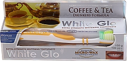 """Profumi e cosmetici Set """"Per gli amanti del tè e del caffè"""", spazzolino giallo - White Glo Coffee & Tea Drinkers Formula Whitening Toothpaste (t/paste/100ml + t/brush)"""
