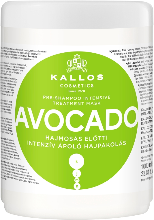 "Maschera capelli ""Avocado"" - Kallos Cosmetics KJMN Avocado Hair Mask"