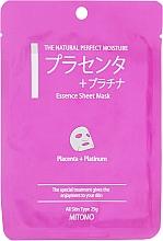 """Profumi e cosmetici Maschera viso in tessuto """"Placenta e nanoparticelle di platino"""" - Mitomo Essence Sheet Mask Placenta + Platinum"""
