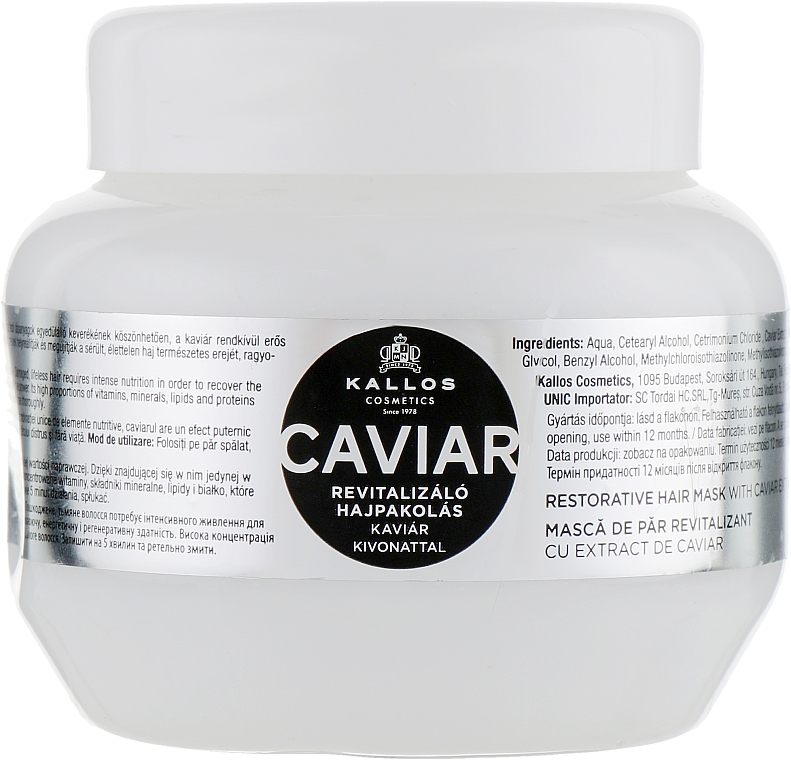 Maschera capelli rivitalizzante con estratto di caviale nero - Kallos Cosmetics Anti-Age Hair Mask