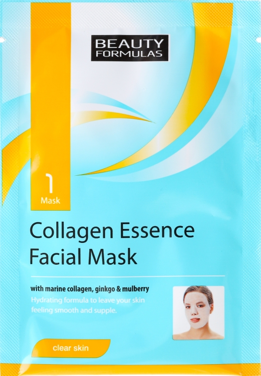 Maschera viso in tessuto - Beauty Formulas Collagen Essence Facial Mask — foto N1