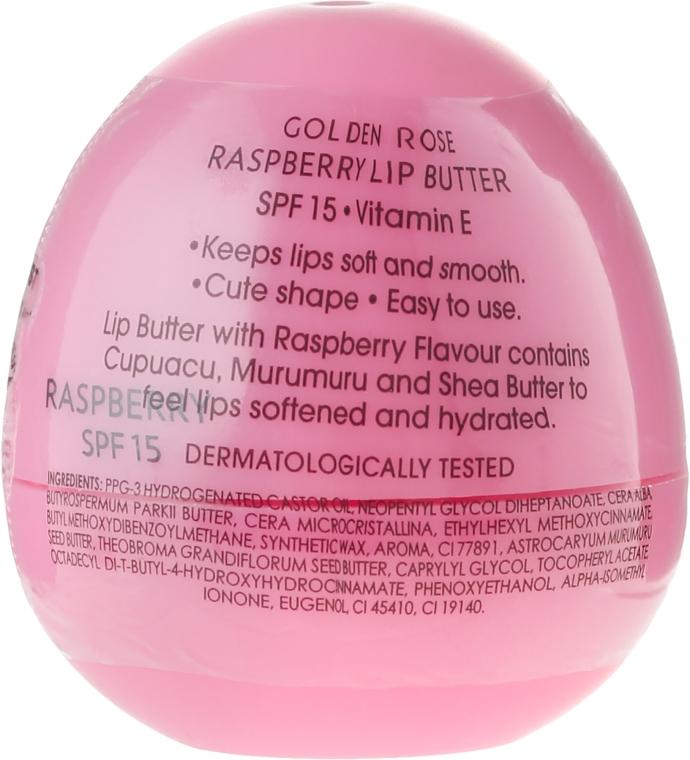 Balsamo-burro per labbra, lampone - Golden Rose Lip Butter SPF15 Raspberry