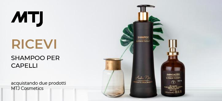 Acquistando due prodotti MTJ Cosmetics, ricevi in regalo uno shampoo
