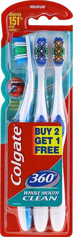 Set spazzolino da denti, medio duro, blu + viola + arancione - Colgate 360