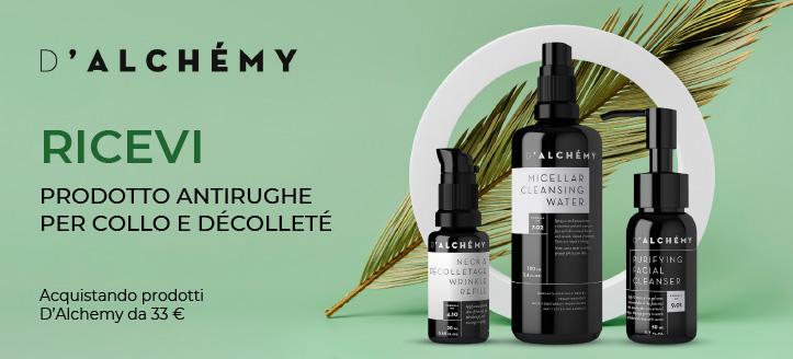 Acquistando prodotti  D'Alchemy da 33 €, ricevi in regalo un prodotto antirughe collo e décolleté