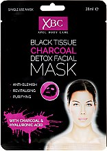Profumi e cosmetici Maschera in tessuto disintossicante al carbonio vegetale - Xpel Marketing Ltd Body Care Black Tissue Charcoal Detox Facial Face Mask