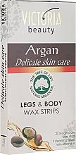 Profumi e cosmetici Strisce depilatorie per corpo e gambe, con olio di argan - Victoria Beauty Delicate Skin Care Legs & Body Waxing Strips Argan