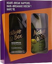 Profumi e cosmetici Set - Nature Box Olive Oil Set (shmp/385ml + cond/385ml)