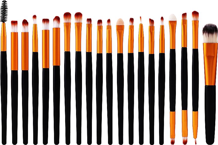 Set pennelli trucco professionali, 20 pz, oro-nero - Lewer