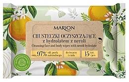 Profumi e cosmetici Salviette detergenti per viso e corpo con idrolato di neroli, 15 pezzi - Marion