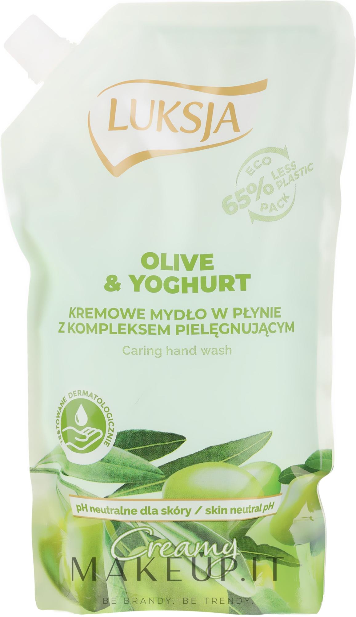 "Sapone liquido ""Olio d'oliva e yogurt"" - Luksja Creamy Olive & Yogurt Soap (doypack) — foto 400 ml"