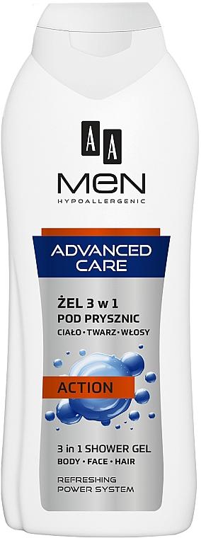 Gel doccia 3in1, per uomo - AA Men Advanced Care 3 in 1 Shower Gel Action — foto N1