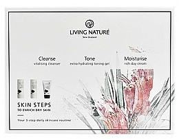 Profumi e cosmetici Set - Living Nature Skin Steps To Enrich Dry Skin (milk/50ml + gel/50ml + cr/50ml)