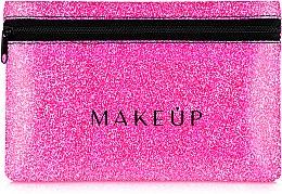 """Profumi e cosmetici Beauty case in silicone, """"Glitter Pouch"""", rosa, 18x11cm - MakeUp"""