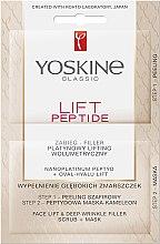 Profumi e cosmetici Scrub + maschera anti rughe profonde - Yoskine Lift Peptide Face Lift and Deep Wrinkle Filler Face Scrub + Mask