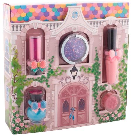 "Set di cosmetici per bambine ""Magic House"" - Tutu Cottage set (balm/4ml+gloss/lip/7ml+polish/5ml+eye/cheek/shadow/4,5ml+eye/lip/cheek/shadow/4,5ml) (04-Turquoise Pointe)"