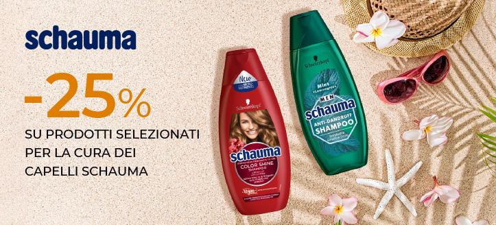 Sconto 25% su prodotti selezionati per la cura dei capelli Schauma. I prezzi sul nostro sito comprendono gli sconti
