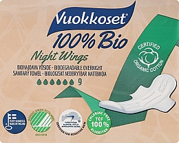 Profumi e cosmetici Assorbenti, 9 pezzi - Vuokkoset Bio Night Wings