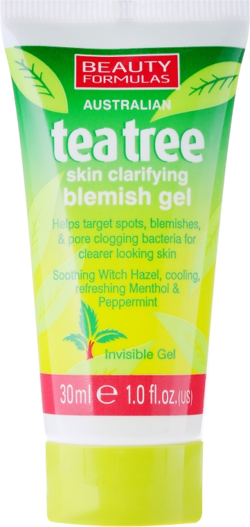 "Gel viso antinfiammatorio e chiarificante ""Tea tree"" - Beauty Formulas Tea Tree Skin Clarifying Blemish Gel"