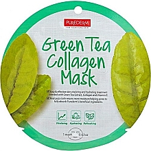 Profumi e cosmetici Maschera in tessuto - Purederm Green Tea Collagen Mask